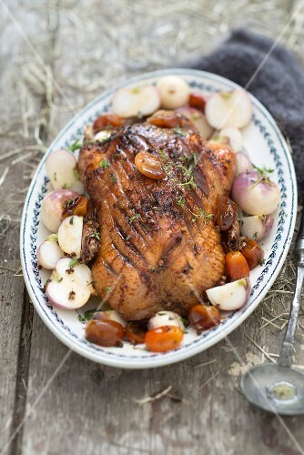 Roasted duck with turnips and dates