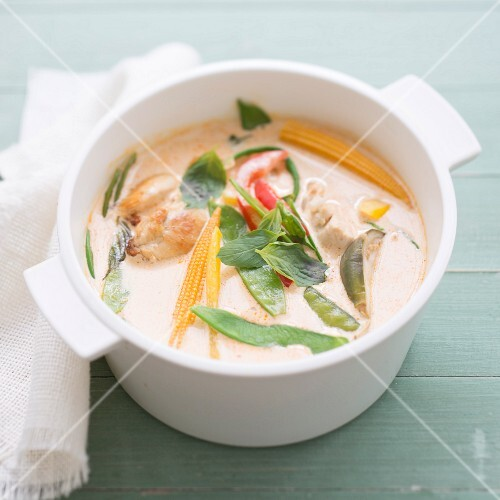 Thai coconut milk,chicken and sweet pea soup