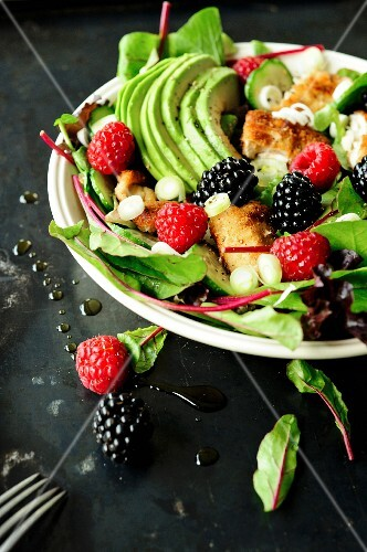 Avocado,summer fruit and breaded chicken salad