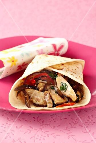 Chicken and vegetable tortilla
