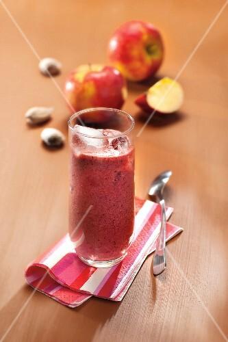 Cherry and apple juice with almond milk