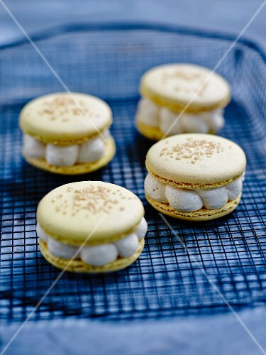 Macaroons with golden sprinkles