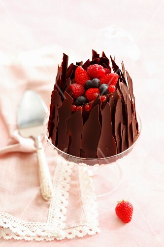 Chocolate Charlotte with fruits of the forest