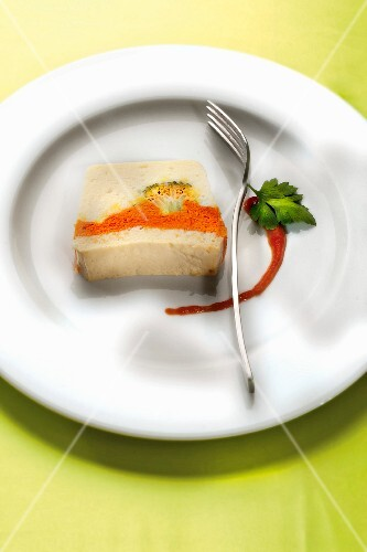 Cauliflower,carrot and broccoli terrine,tomato coulis