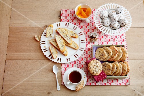 Tea time: various biscuits and a cup of tea