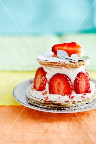 A strawberry cream cake