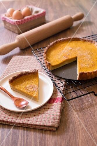 Lactose-free tofu and pumpkin pie
