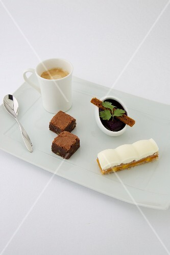 Gourmand coffee with brownie, chocolate cream and apricot Mille-feuille