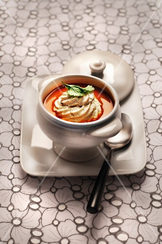 Sweet potato soup with coconut and curry foam