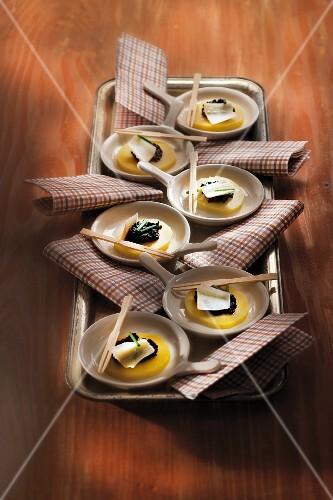 Belle de Fontenay potato,tapenade and parmesan canapés
