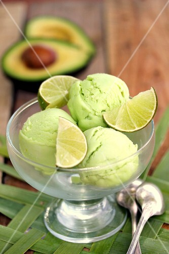 Scoops of avocado-lime sorbet