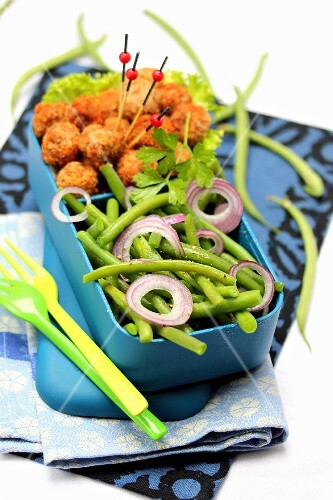 Green bean and red onion salad with chicken croquettes