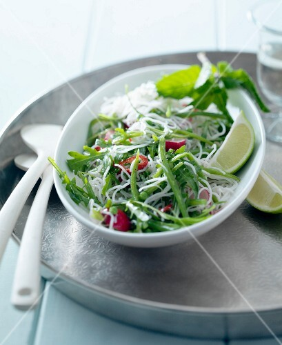 Rice noodle, green bean, rocket lettuce, red pepper and lime salad
