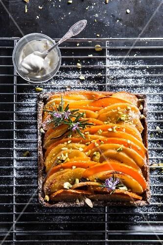 Pumpkin,apple,pistachio and rosemary tart