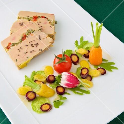 Foie gras with crisp summer vegetables