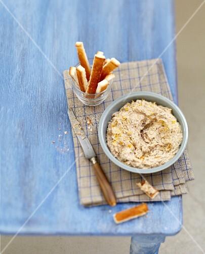 Sardine and orange paté with bread fingers
