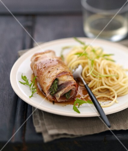 Saltimbocca and spaghetti