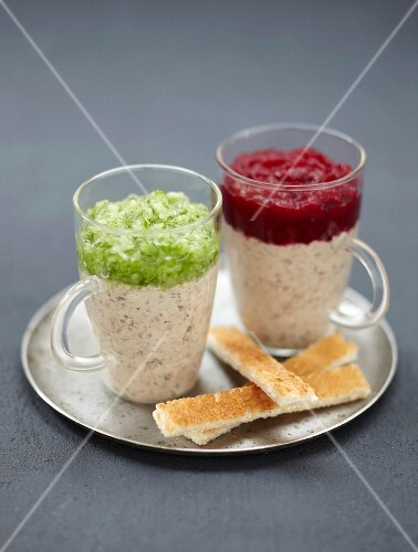 Sardine cream with cucumber and with beetroot