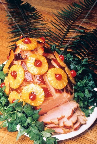 Ham with Pineapple and Cherries; Platter