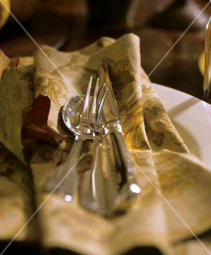 A Fork and Knife; Spoon on a Cloth Napkin