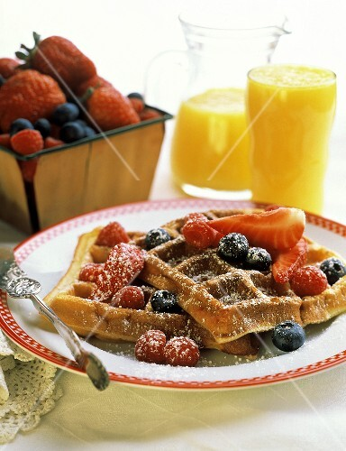 Waffles with Assorted Berries; Powdered Sugar