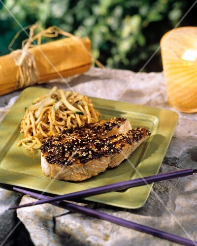 Salmon Steak with Sesame Seeds; Asian Noodles