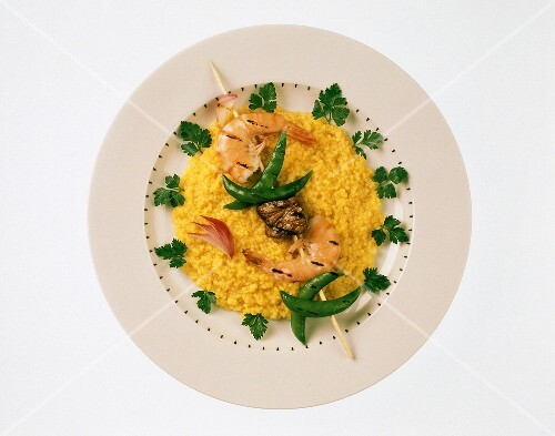 Skewered Shrimp and Steak over Couscous