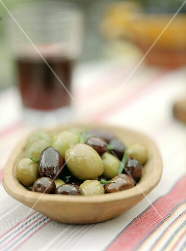 Assorted Olives in a Wooden Bowl
