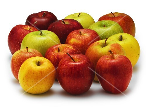 Still life with several types of apples