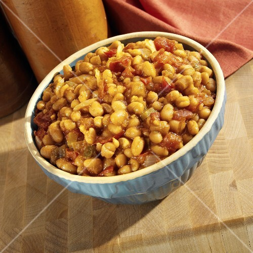 Baked Beans and Salsa Side Dish in Blue Bowl
