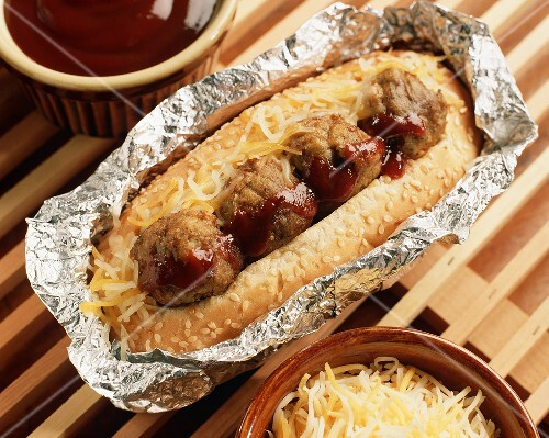 Grilled Barbecued Meatball Hoagie in Foil