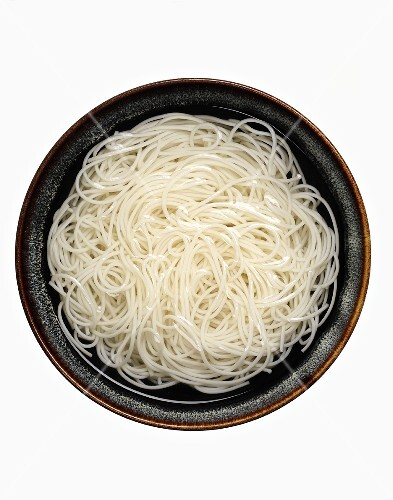 A Bowl of Cooked Rice Noodles