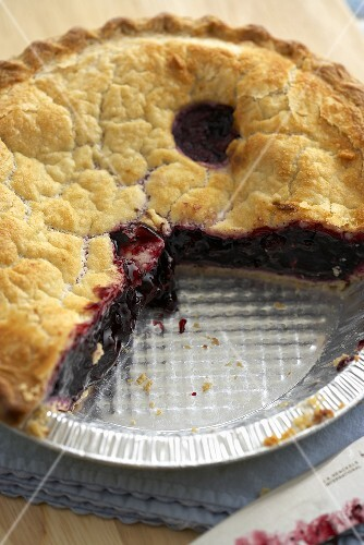 Blueberry Pie with Slices Removed; In Disposable Pie Pan