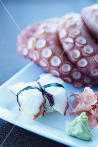 Octopus Sushi on Plate