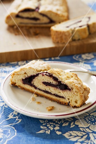 Blackberry Roly Poly; Jam Filled Dessert Made with Biscuit Dough