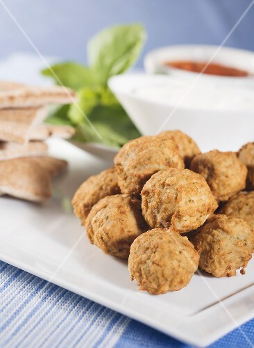Meatballs; Sour Cream and Marinara Dipping Sauce
