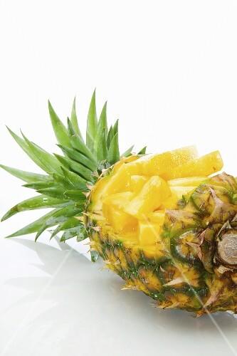Pineapple Chunks inside a Whole Pineapple