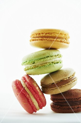 Multi-Colored Macaroons; Stacked