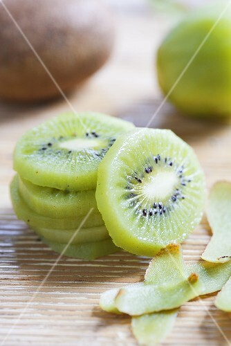 Peeled and Sliced Kiwi; Stacked; Peels