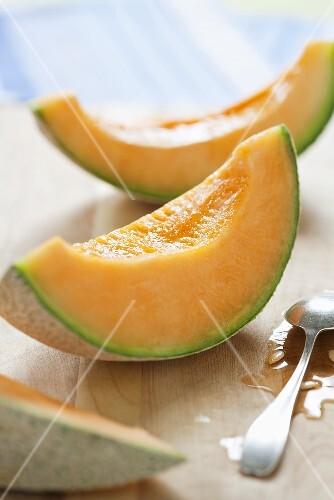Cantaloupe Wedges; Spoon