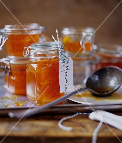 Homemade Orange Marmalade in Jars