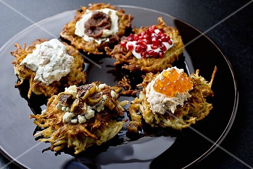 Plate of Latkas with Assorted Toppings