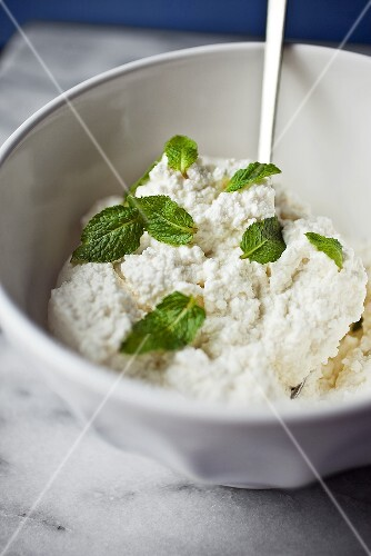 Bowl of Ricotta Cheese with Fresh Mint Leaves
