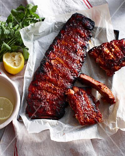 Rack of sticky pork ribs with lemon. StickyPorkRibs