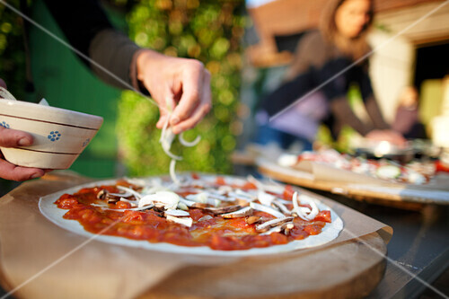 Home-made pizza, Klein Thurow, Roggendorf, Mecklenburg-Western Pomerania, Germany