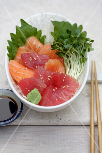 Close up of sashimi and sprouts, Santa Fe, New Mexico, United States