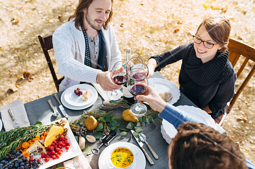 Caucasian friends toasting with wine at outdoor table